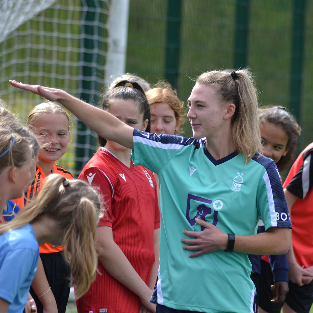 New signing Naomi Powell attends girls only session at Nottingham Forest Official Soccer Schools.